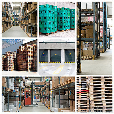Factory warehouse collage