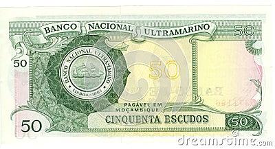 Facture de 50 escudos de la Mozambique