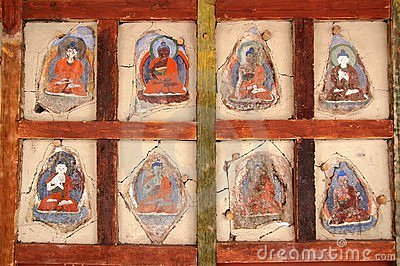 Faded Ladkahi buddhist paintings