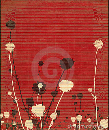 Faded Meadow Flower Silhouette on Red