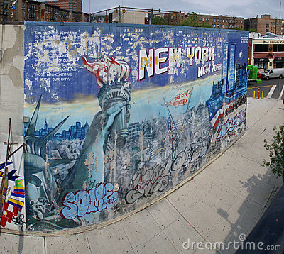 Faded mural honoring New  York Editorial Stock Photo