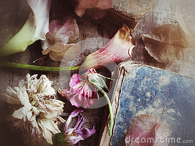 Fading flowers and old book textures