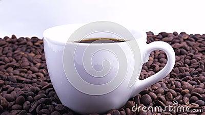 Fagioli di caffè Chiusura di semi di caffè Caffè sulla tazza bianca archivi video