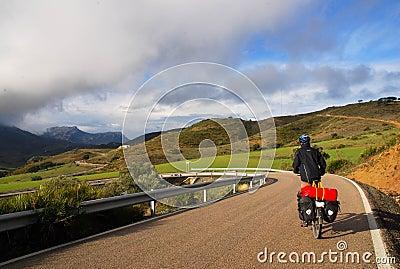 Fahrrad, das in Spanien bereist