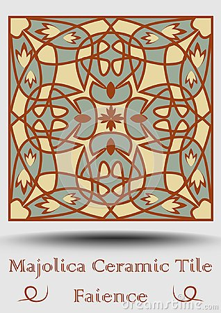 Free Faience Ceramic Tile . Vintage Ceramic Majolica In Beige, Olive Green And Red Terracotta. Traditional Spanish Product Stock Images - 116082884
