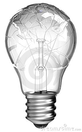 Failed idea. Smashed lightbulb isolated