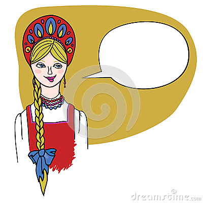 Fair haired blonde girl in Russian folk dress.