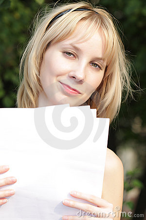 Fair-haired girl with with blank papers