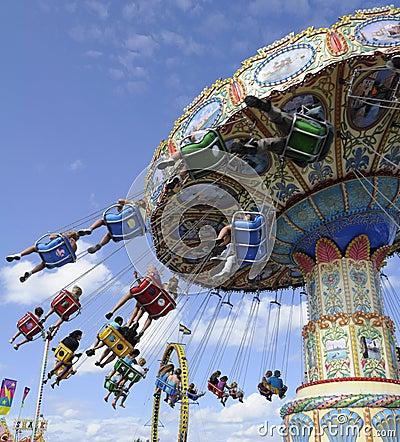 Fairground Carousel Spinning Round Editorial Stock Photo