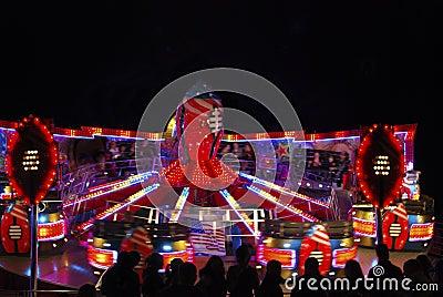Fairground roundabout at night
