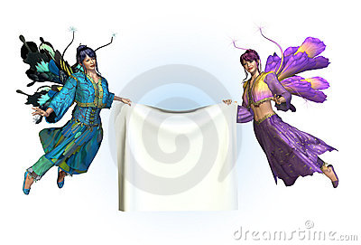 Fairies Holding Blank Banner
