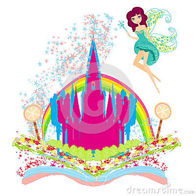 Fairy замок появляясь от книги
