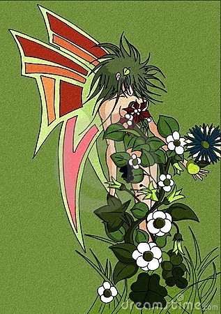 Fairy cartoon with the body full of colorful flowe