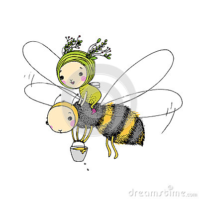 Free Fairy And The Bee On A White Background. Stock Photography - 73510742