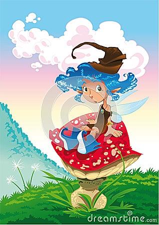Fairy-Azul e o cogumelo