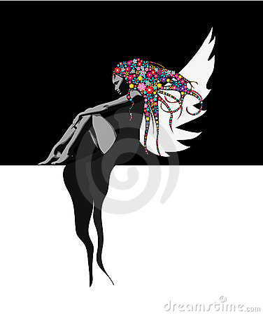 Fairy on black background