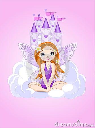 Fairy bonito pequeno e um castelo