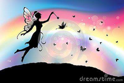 Fairy butterfly silhouette with magic wand rainbow sky background Vector Illustration