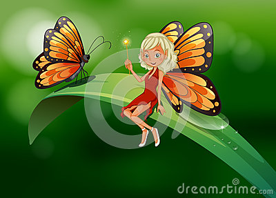 A fairy and a butterfly at the top of a long leaf