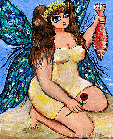 Fairy catches a fish