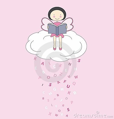 Fairy on a cloud reading
