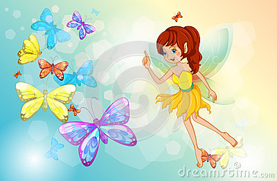 A fairy with colorful butterflies