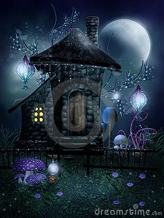 Fairy cottage with lamps