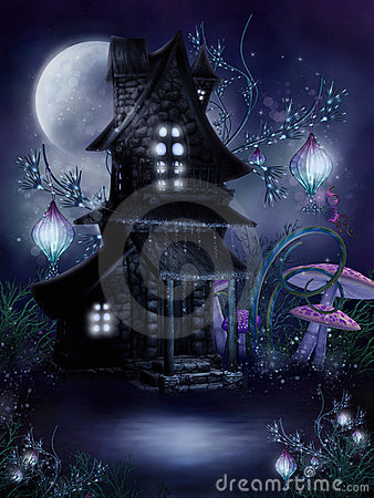 Fairy cottage at night