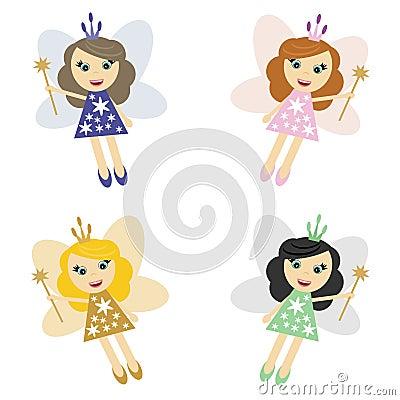 Fairy elfs girls on white