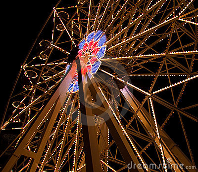 Fairy Ferris Wheel at Amusement Park At Night
