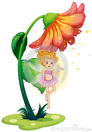 A fairy flying under the giant flower