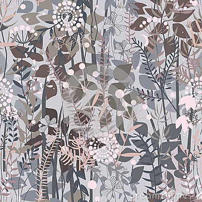 Free Fairy Forest Background. Floral Seamless Pattern With Doodle Plants, Flowers, Bushes, And Grass. Pleasant Pastel Grey, Pink, And B Royalty Free Stock Photo - 105350265