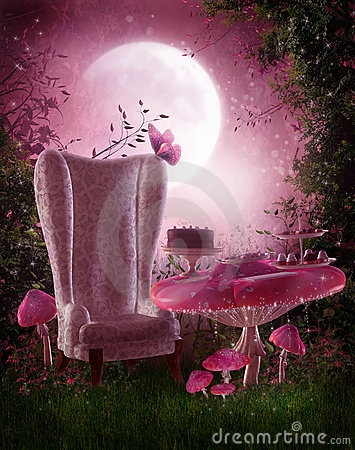 Fairy garden with pink mushrooms