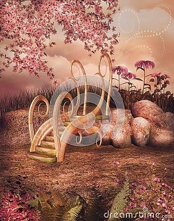 Free Fairy Garden With Bridge Stock Image - 43845951