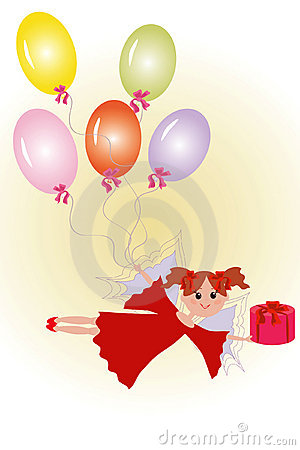 Fairy with gift and balloons.