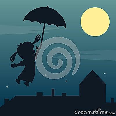 Fairy Girl Flying Silhouette