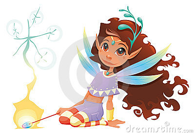 Fairy girl with magic wand.