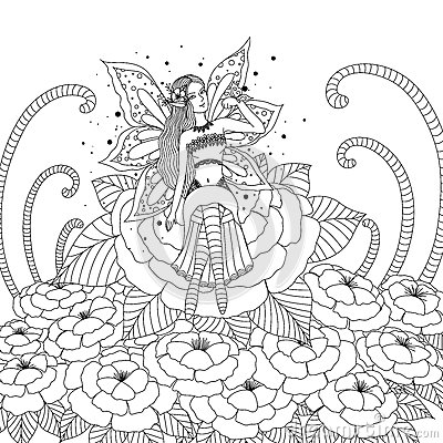 Butterfly Art Coloring Book Fairy Girl Playing With In The Flower Forest Design For