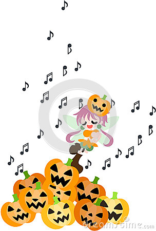 A fairy of the Halloween is singing a song.