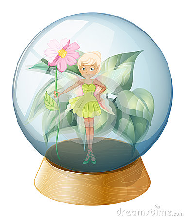 A fairy holding a flower inside the crystal ball