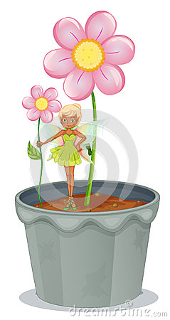 A fairy holding a flower standing on a flower pot