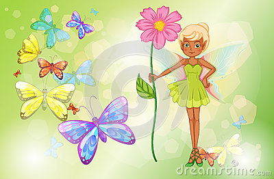 A fairy holding a pink flower with butterflies
