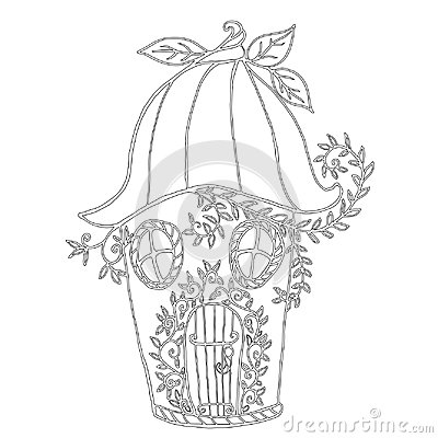 Free Fairy House Bellflower, Children`s Coloring Book. Royalty Free Stock Photography - 118956757