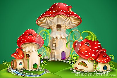 Fairy houses red mushrooms with water mill, golden bell and owls Vector Illustration