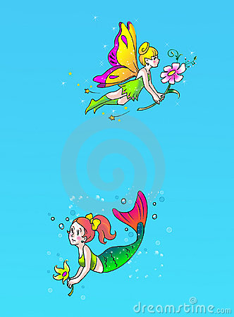 Fairy and mermaid page