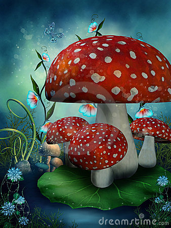 Free Fairy Mushrooms And Flowers Royalty Free Stock Photography - 17646947