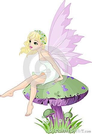 Free Fairy On The Mushroom Stock Image - 15331351
