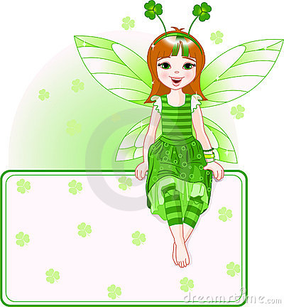 Free Fairy Place Card For St. Patricks Day Stock Photography - 13175622