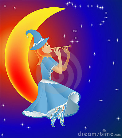 Fairy plays on flute tune stars