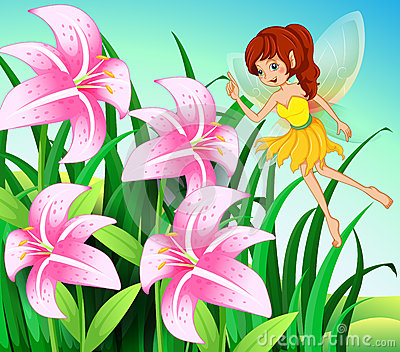 A fairy pointing the pink flowers at the garden
